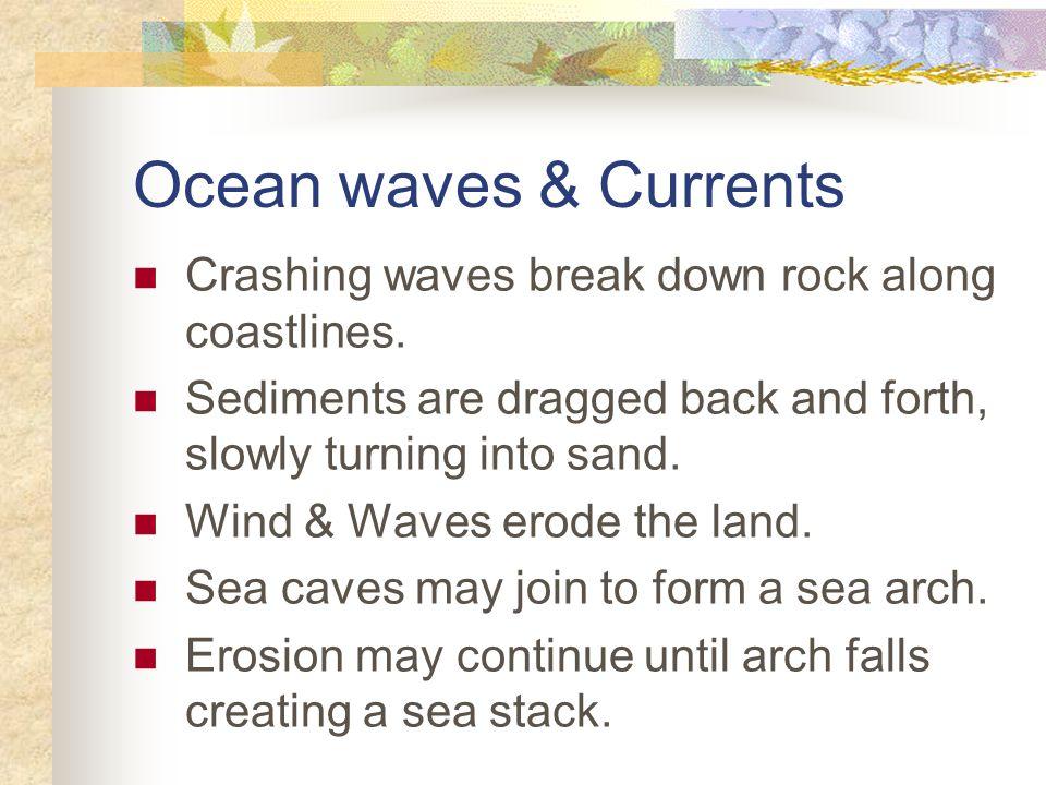 Ocean waves & Currents Crashing waves break down rock along coastlines.