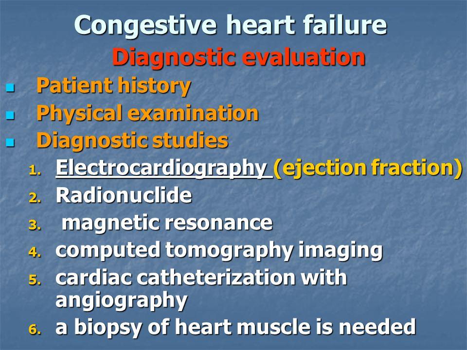 Congestive heart failure Diagnostic evaluation Patient history Patient history Physical examination Physical examination Diagnostic studies Diagnostic