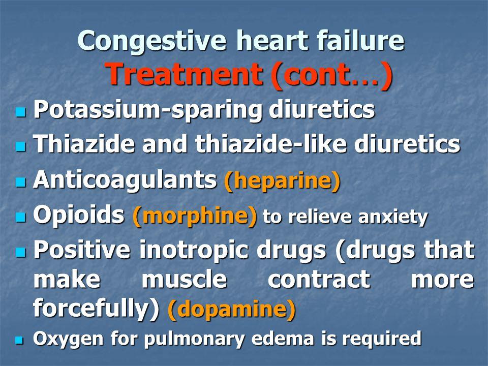 Congestive heart failure Treatment (cont … ) Potassium-sparing diuretics Potassium-sparing diuretics Thiazide and thiazide-like diuretics Thiazide and