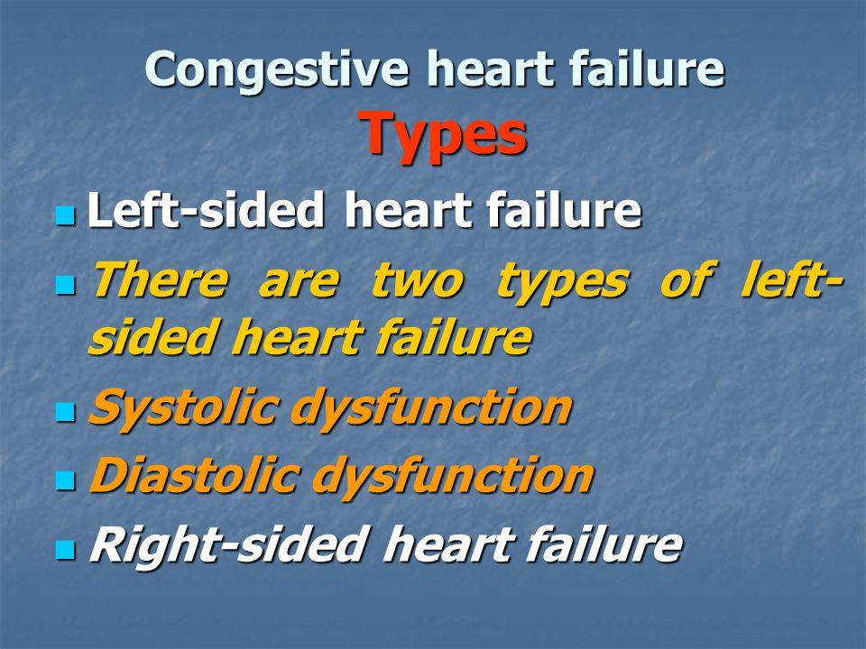Congestive heart failure Types Left-sided heart failure Left-sided heart failure There are two types of left- sided heart failure There are two types
