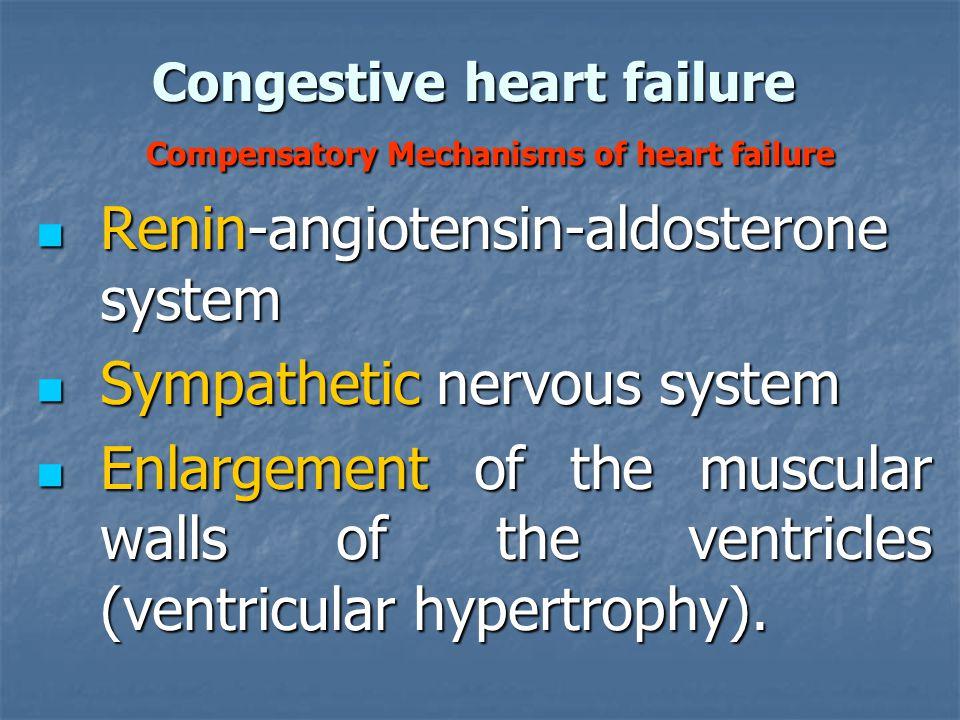 Congestive heart failure Compensatory Mechanisms of heart failure Renin-angiotensin-aldosterone system Renin-angiotensin-aldosterone system Sympatheti
