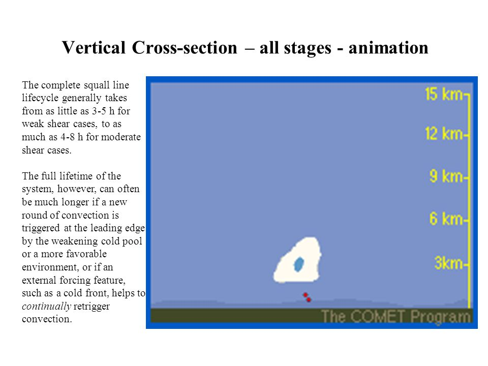 Vertical Cross-section – all stages - animation The complete squall line lifecycle generally takes from as little as 3-5 h for weak shear cases, to as much as 4-8 h for moderate shear cases.