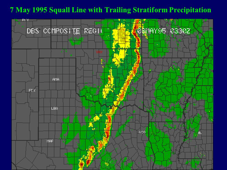 7 May 1995 Squall Line with Trailing Stratiform Precipitation
