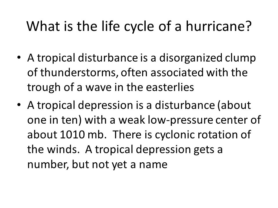 What is the life cycle of a hurricane.