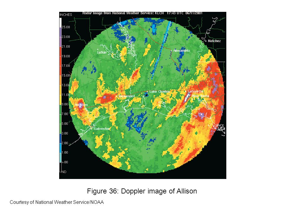 Figure 36: Doppler image of Allison Courtesy of National Weather Service/NOAA