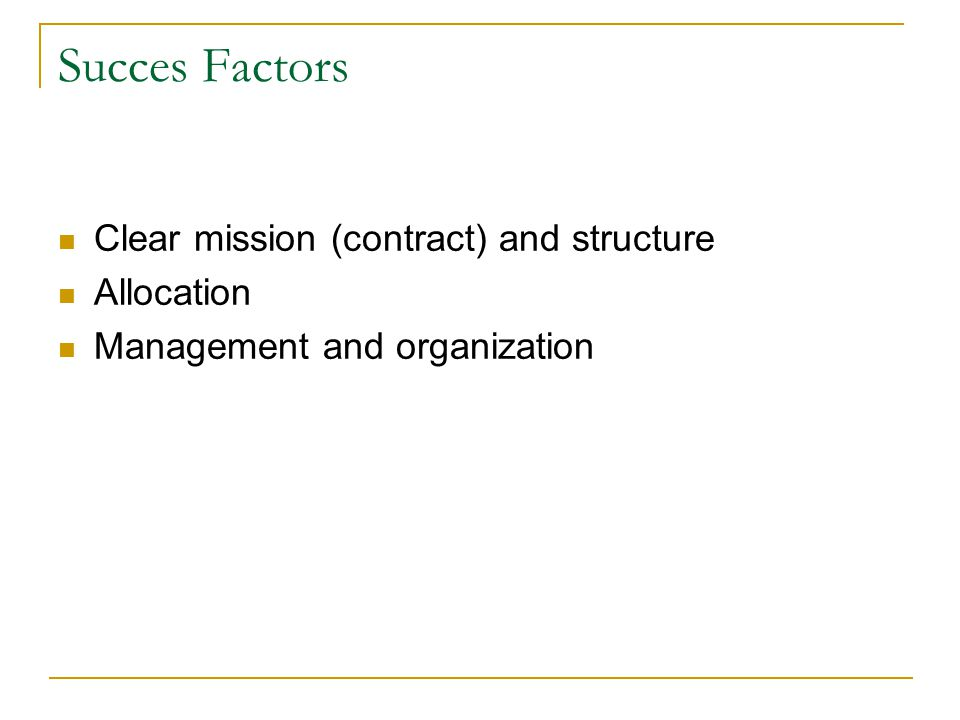 Succes Factors Clear mission (contract) and structure Allocation Management and organization