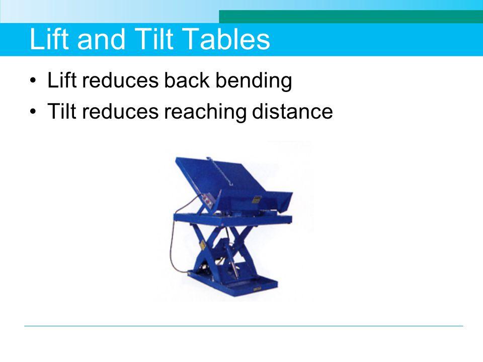 Lift and Tilt Tables Lift reduces back bending Tilt reduces reaching distance