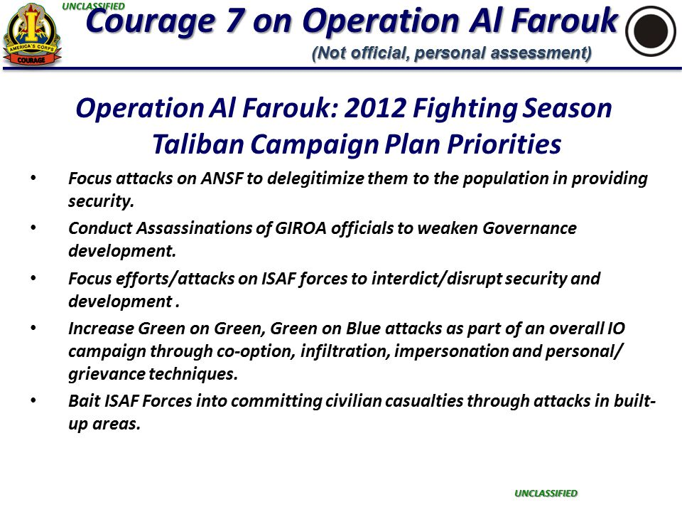 UNCLASSIFIED UNCLASSIFIED Courage 7 on Operation Al Farouk Operation Al Farouk: 2012 Fighting Season Taliban Campaign Plan Priorities Focus attacks on ANSF to delegitimize them to the population in providing security.