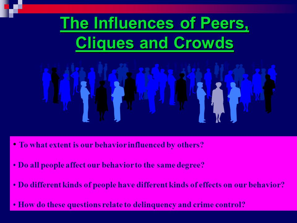 The Influences of Peers, Cliques and Crowds To what extent is our behavior influenced by others.