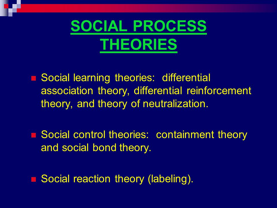 Social Learning Theory: Differential Association Sutherland and Cressey.