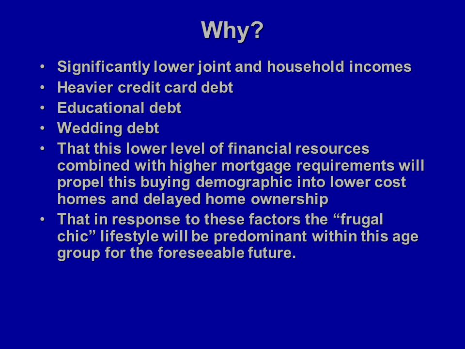 Why? Significantly lower joint and household incomesSignificantly lower joint and household incomes Heavier credit card debtHeavier credit card debt E