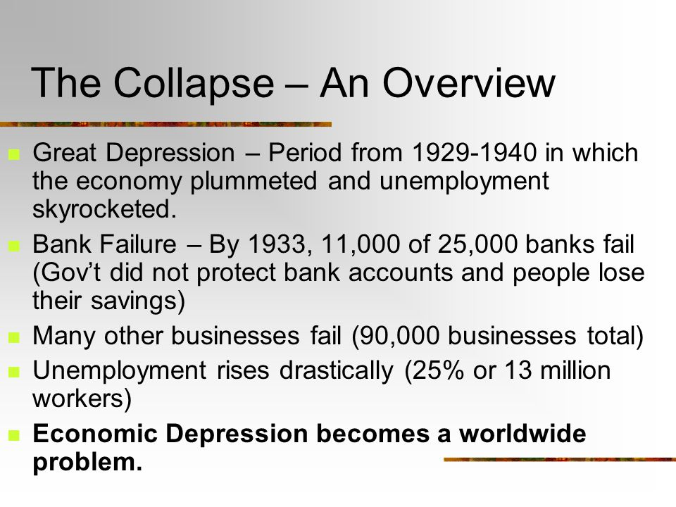 The Collapse – An Overview Great Depression – Period from 1929-1940 in which the economy plummeted and unemployment skyrocketed.