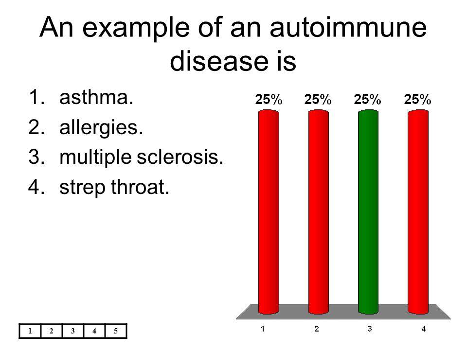 12345 An example of an autoimmune disease is 1.asthma. 2.allergies. 3.multiple sclerosis. 4.strep throat.