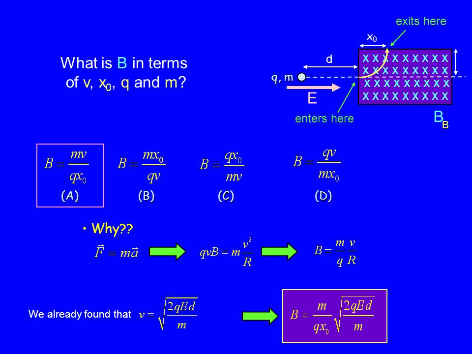 Why?. (A) (B) (C) (D) What is B in terms of v, x 0, q and m.