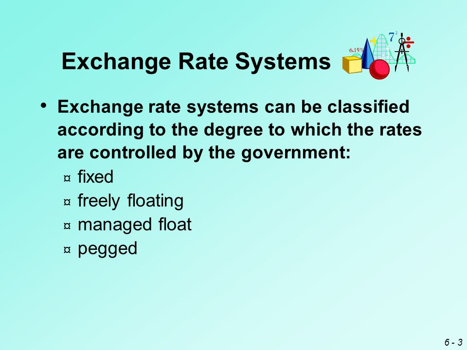 6 - 3 Exchange Rate Systems Exchange rate systems can be classified according to the degree to which the rates are controlled by the government: ¤ fixed ¤ freely floating ¤ managed float ¤ pegged