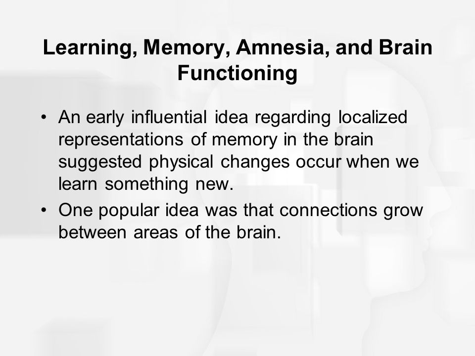 Learning, Memory, Amnesia, and Brain Functioning Reverberating circuits of neuronal activity were thought to be the mechanisms of consolidation.