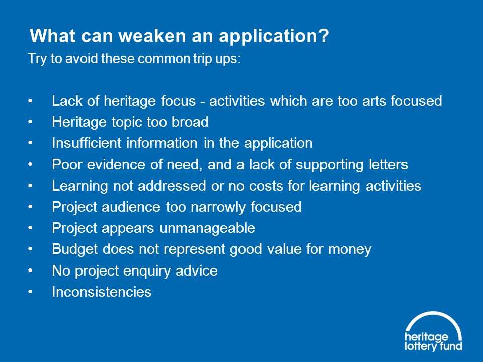 What can weaken an application.