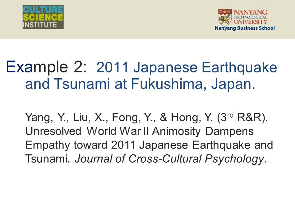 Example 2: 2011 Japanese Earthquake and Tsunami at Fukushima, Japan. Yang, Y., Liu, X., Fong, Y., & Hong, Y. (3 rd R&R). Unresolved World War II Animo