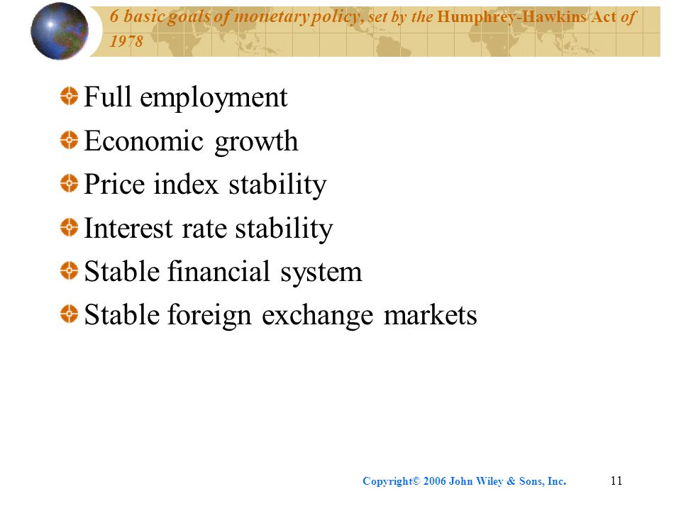 Copyright© 2006 John Wiley & Sons, Inc.11 6 basic goals of monetary policy, set by the Humphrey-Hawkins Act of 1978 Full employment Economic growth Price index stability Interest rate stability Stable financial system Stable foreign exchange markets