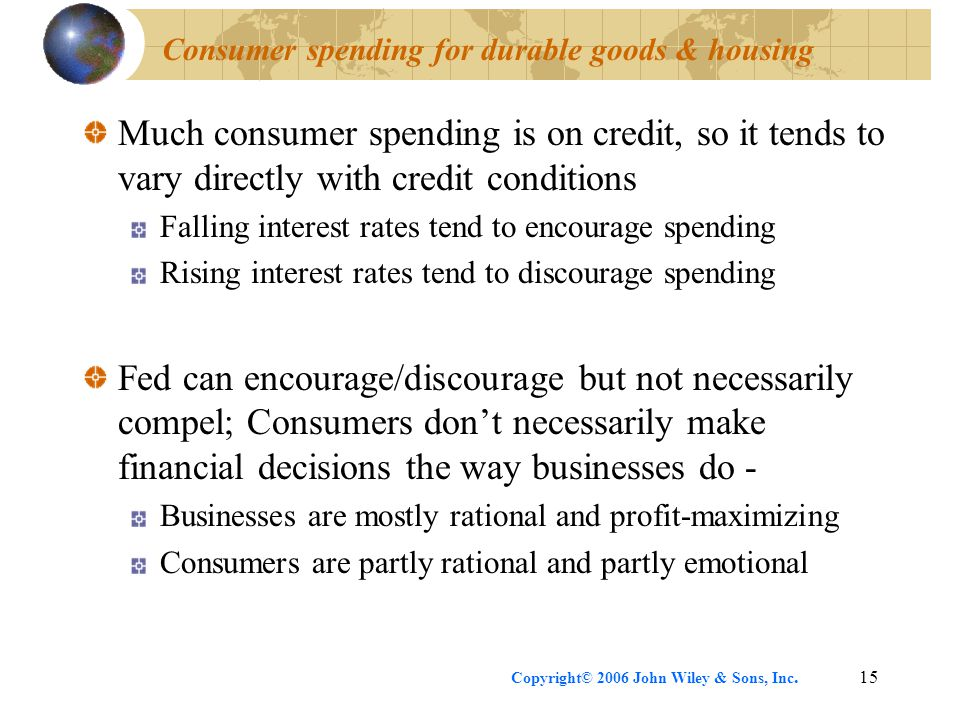 Copyright© 2006 John Wiley & Sons, Inc.15 Consumer spending for durable goods & housing Much consumer spending is on credit, so it tends to vary directly with credit conditions Falling interest rates tend to encourage spending Rising interest rates tend to discourage spending Fed can encourage/discourage but not necessarily compel; Consumers don't necessarily make financial decisions the way businesses do - Businesses are mostly rational and profit-maximizing Consumers are partly rational and partly emotional