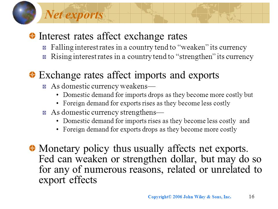 Copyright© 2006 John Wiley & Sons, Inc.16 Net exports Interest rates affect exchange rates Falling interest rates in a country tend to weaken its currency Rising interest rates in a country tend to strengthen its currency Exchange rates affect imports and exports As domestic currency weakens— Domestic demand for imports drops as they become more costly but Foreign demand for exports rises as they become less costly As domestic currency strengthens— Domestic demand for imports rises as they become less costly and Foreign demand for exports drops as they become more costly Monetary policy thus usually affects net exports.