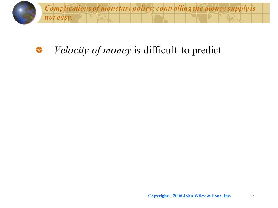 Copyright© 2006 John Wiley & Sons, Inc.17 Complications of monetary policy: controlling the money supply is not easy.
