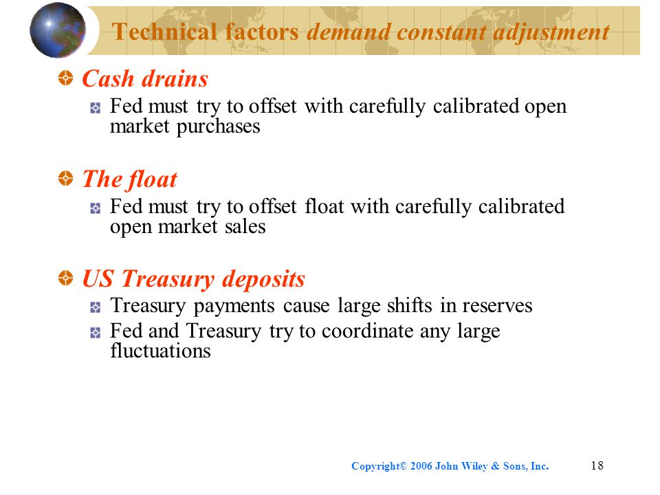 Copyright© 2006 John Wiley & Sons, Inc.18 Technical factors demand constant adjustment Cash drains Fed must try to offset with carefully calibrated open market purchases The float Fed must try to offset float with carefully calibrated open market sales US Treasury deposits Treasury payments cause large shifts in reserves Fed and Treasury try to coordinate any large fluctuations