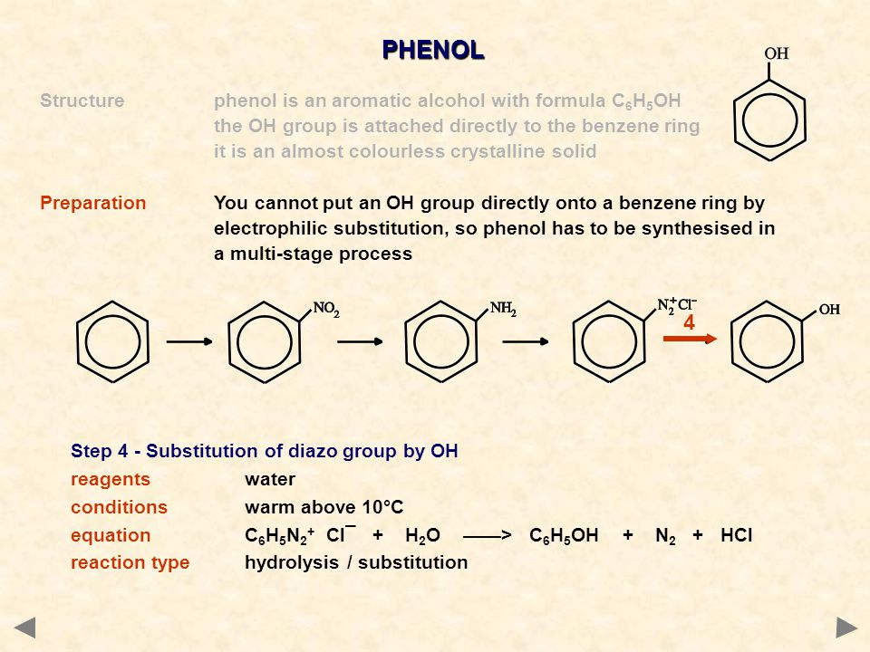PHENOL Structurephenol is an aromatic alcohol with formula C 6 H 5 OH the OH group is attached directly to the benzene ring it is an almost colourless crystalline solid PreparationYou cannot put an OH group directly onto a benzene ring by electrophilic substitution, so phenol has to be synthesised in a multi-stage process Step 4 - Substitution of diazo group by OH reagentswater conditionswarm above 10°C equationC 6 H 5 N 2 + Cl¯ + H 2 O ——> C 6 H 5 OH + N 2 + HCl reaction typehydrolysis / substitution 4