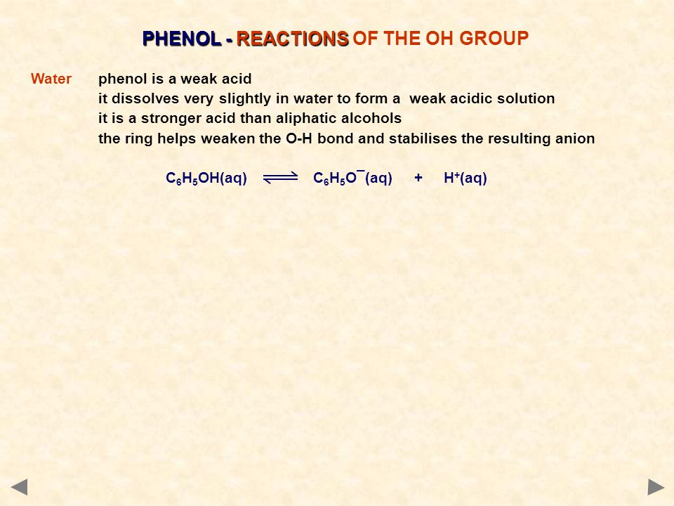 PHENOL - REACTIONS PHENOL - REACTIONS OF THE OH GROUP Waterphenol is a weak acid it dissolves very slightly in water to form a weak acidic solution it is a stronger acid than aliphatic alcohols the ring helps weaken the O-H bond and stabilises the resulting anion C 6 H 5 OH(aq) C 6 H 5 O¯(aq) + H + (aq)