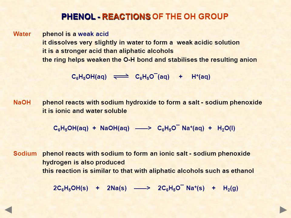 PHENOL - REACTIONS PHENOL - REACTIONS OF THE OH GROUP Waterphenol is a weak acid it dissolves very slightly in water to form a weak acidic solution it is a stronger acid than aliphatic alcohols the ring helps weaken the O-H bond and stabilises the resulting anion C 6 H 5 OH(aq) C 6 H 5 O¯(aq) + H + (aq) NaOHphenol reacts with sodium hydroxide to form a salt - sodium phenoxide it is ionic and water soluble C 6 H 5 OH(aq) + NaOH(aq) ——> C 6 H 5 O¯ Na + (aq) + H 2 O(l) Sodiumphenol reacts with sodium to form an ionic salt - sodium phenoxide hydrogen is also produced this reaction is similar to that with aliphatic alcohols such as ethanol 2C 6 H 5 OH(s) + 2Na(s) ——> 2C 6 H 5 O¯ Na + (s) + H 2 (g)
