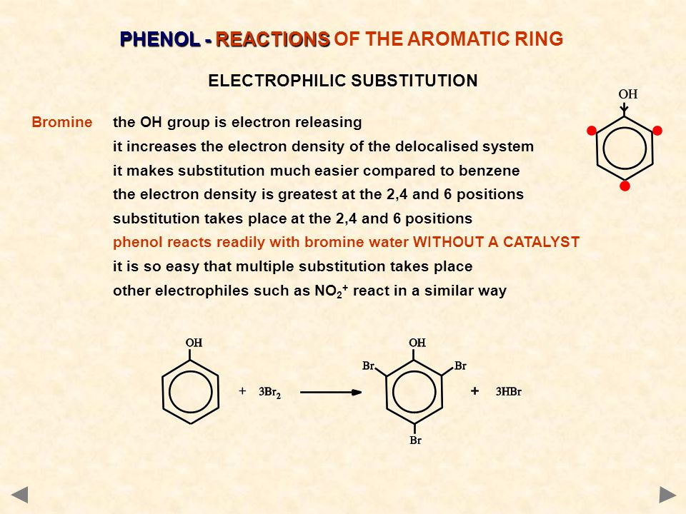 ELECTROPHILIC SUBSTITUTION Bromine the OH group is electron releasing it increases the electron density of the delocalised system it makes substitution much easier compared to benzene the electron density is greatest at the 2,4 and 6 positions substitution takes place at the 2,4 and 6 positions phenol reacts readily with bromine water WITHOUT A CATALYST it is so easy that multiple substitution takes place other electrophiles such as NO 2 + react in a similar way PHENOL - REACTIONS PHENOL - REACTIONS OF THE AROMATIC RING