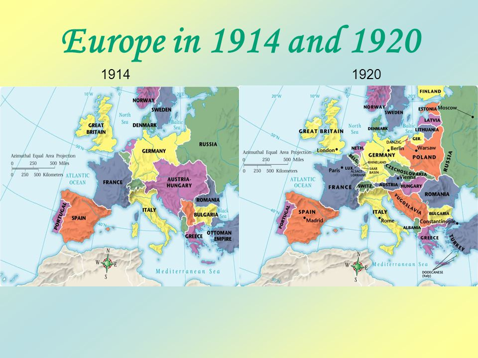 1914 Europe in 1914 and 1920 1920