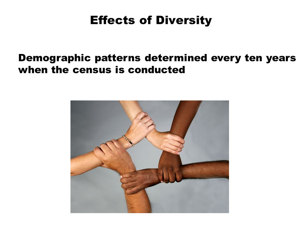 Effects of Diversity  Demographic patterns determined every ten years  when the census is conducted