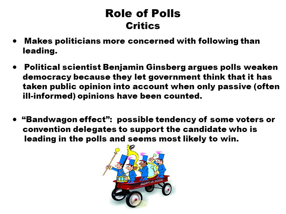 Role of Polls Critics  Makes politicians more concerned with following than leading.  Political scientist Benjamin Ginsberg argues polls weaken demo