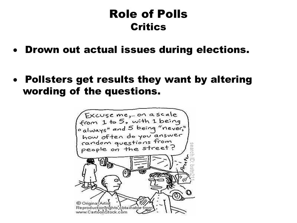 Role of Polls Critics  Drown out actual issues during elections.  Pollsters get results they want by altering wording of the questions.