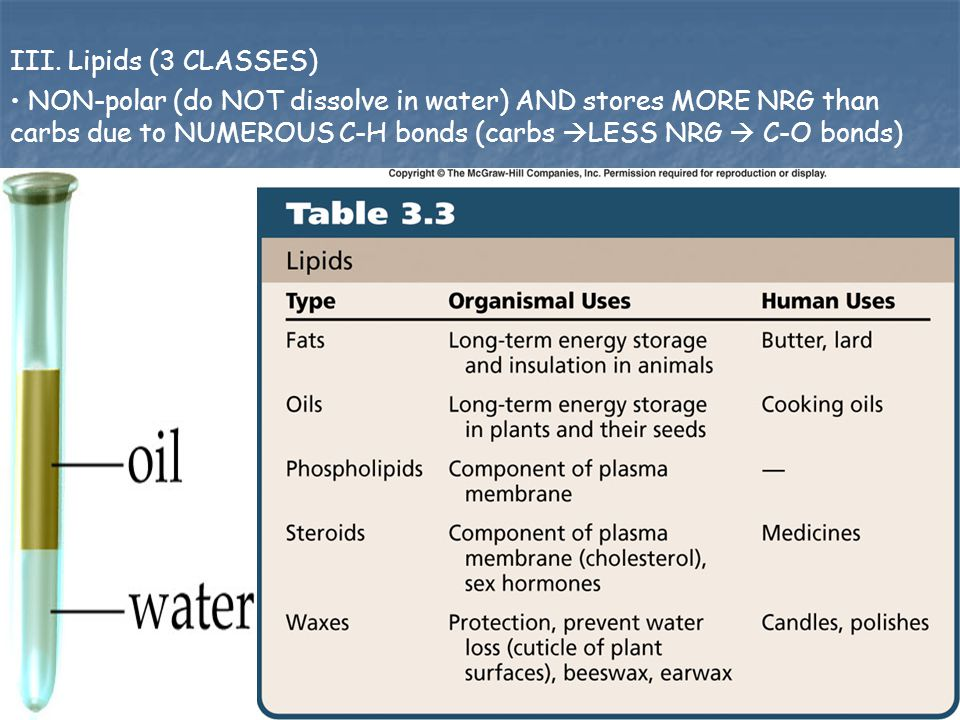 III. Lipids (3 CLASSES) NON-polar (do NOT dissolve in water) AND stores MORE NRG than carbs due to NUMEROUS C-H bonds (carbs  LESS NRG  C-O bonds)