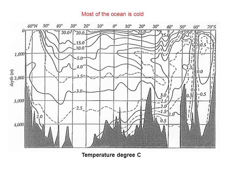 Temperature degree C Most of the ocean is cold