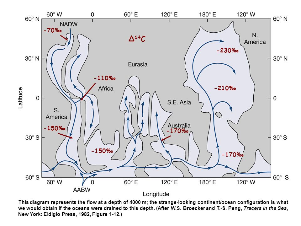 -70‰ -110‰ -150‰ -170‰ -230‰ -210‰ -170‰ ∆ 14 C This diagram represents the flow at a depth of 4000 m; the strange-looking continent/ocean configurati