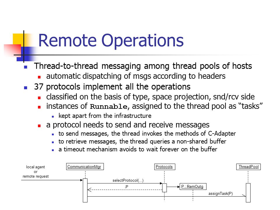 Remote Operations Thread-to-thread messaging among thread pools of hosts automatic dispatching of msgs according to headers 37 protocols implement all
