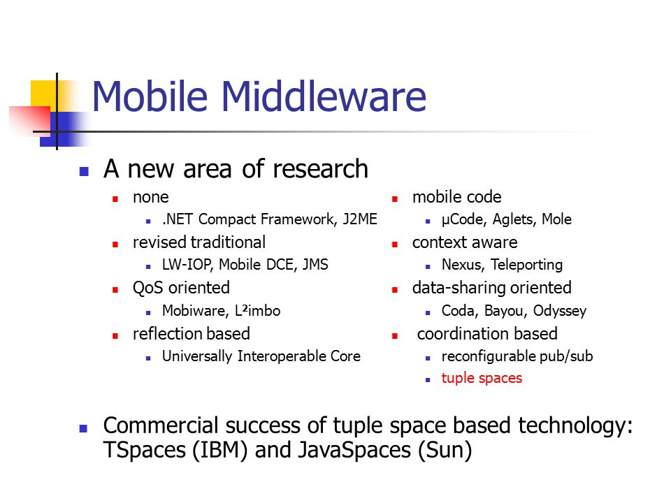 Mobile Middleware A new area of research none.NET Compact Framework, J2ME revised traditional LW-IOP, Mobile DCE, JMS QoS oriented Mobiware, L 2 imbo