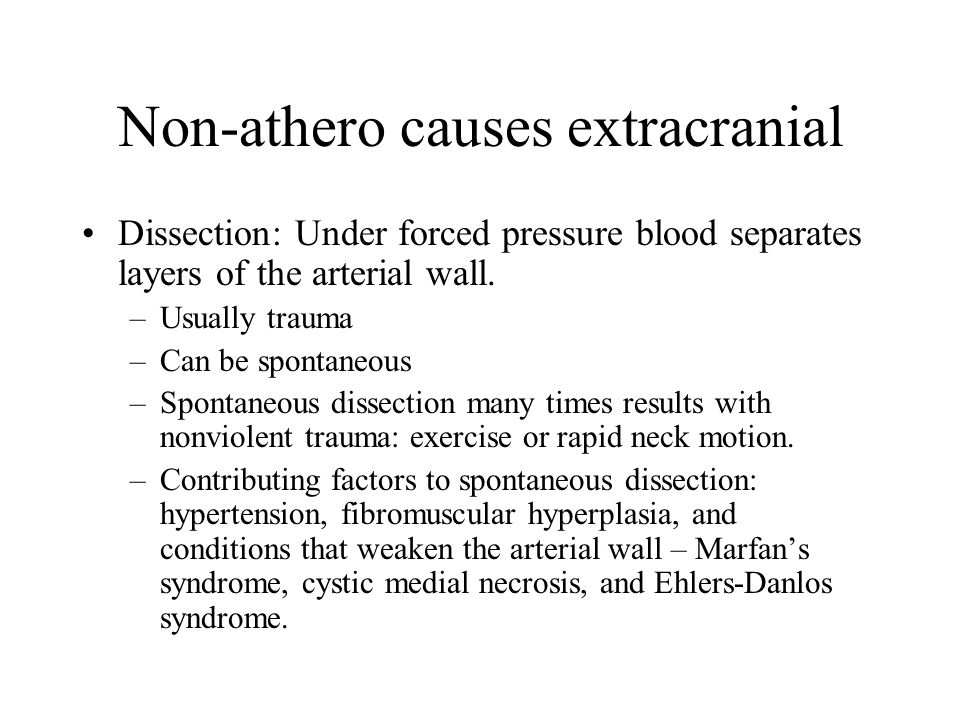 Non-athero causes extracranial Dissection: Under forced pressure blood separates layers of the arterial wall.