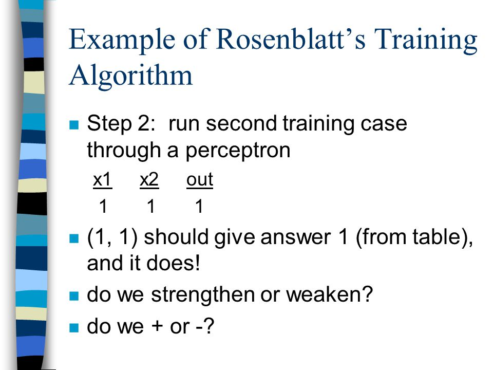 Example of Rosenblatt's Training Algorithm n Step 2: run second training case through a perceptron x1 x2 out 1 1 1 n (1, 1) should give answer 1 (from