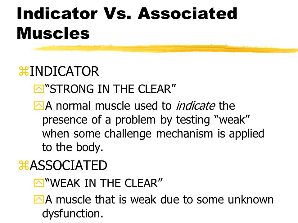 """Indicator Vs. Associated Muscles zINDICATOR y""""STRONG IN THE CLEAR"""" yA normal muscle used to indicate the presence of a problem by testing """"weak"""" when"""