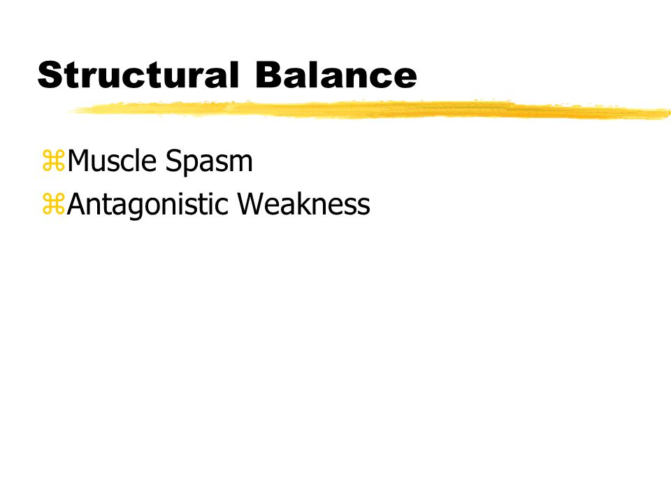 Structural Balance zMuscle Spasm zAntagonistic Weakness