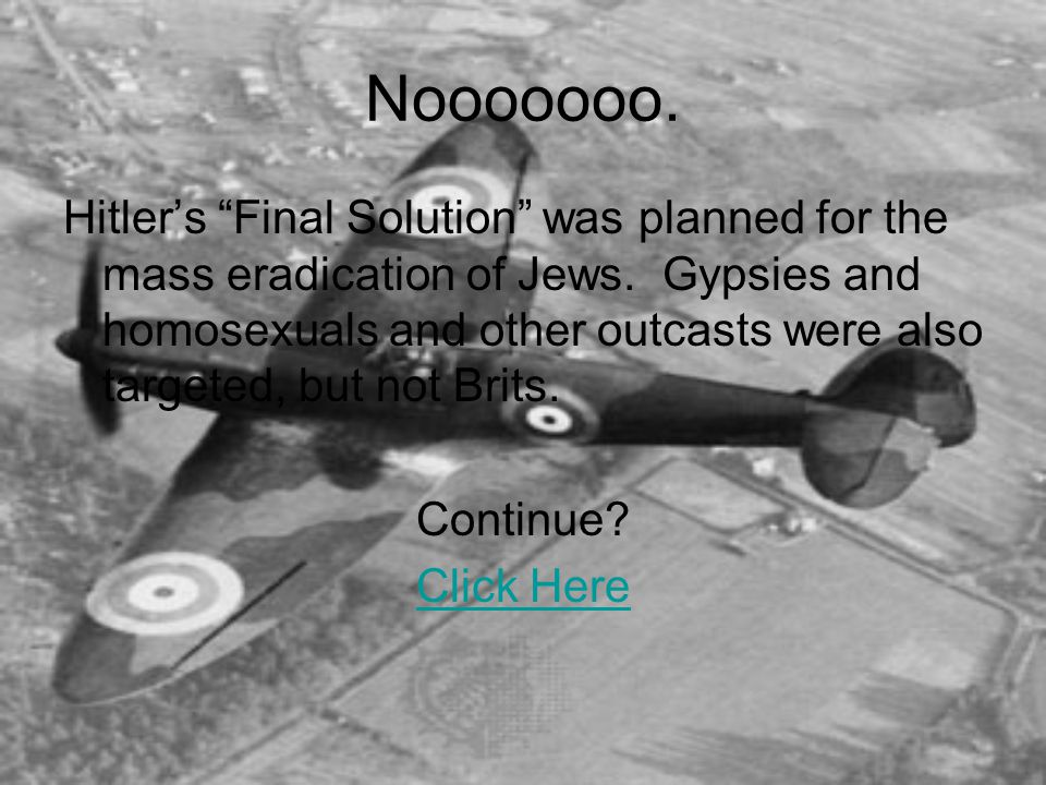 Nooooooo. Hitler's Final Solution was planned for the mass eradication of Jews.