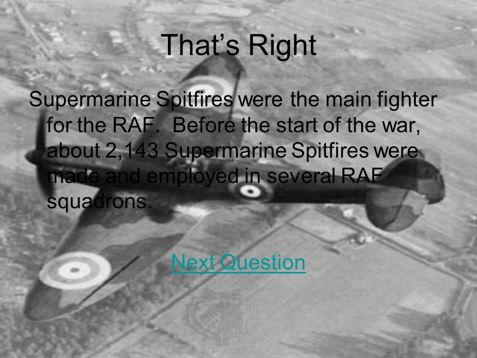 That's Right Supermarine Spitfires were the main fighter for the RAF.
