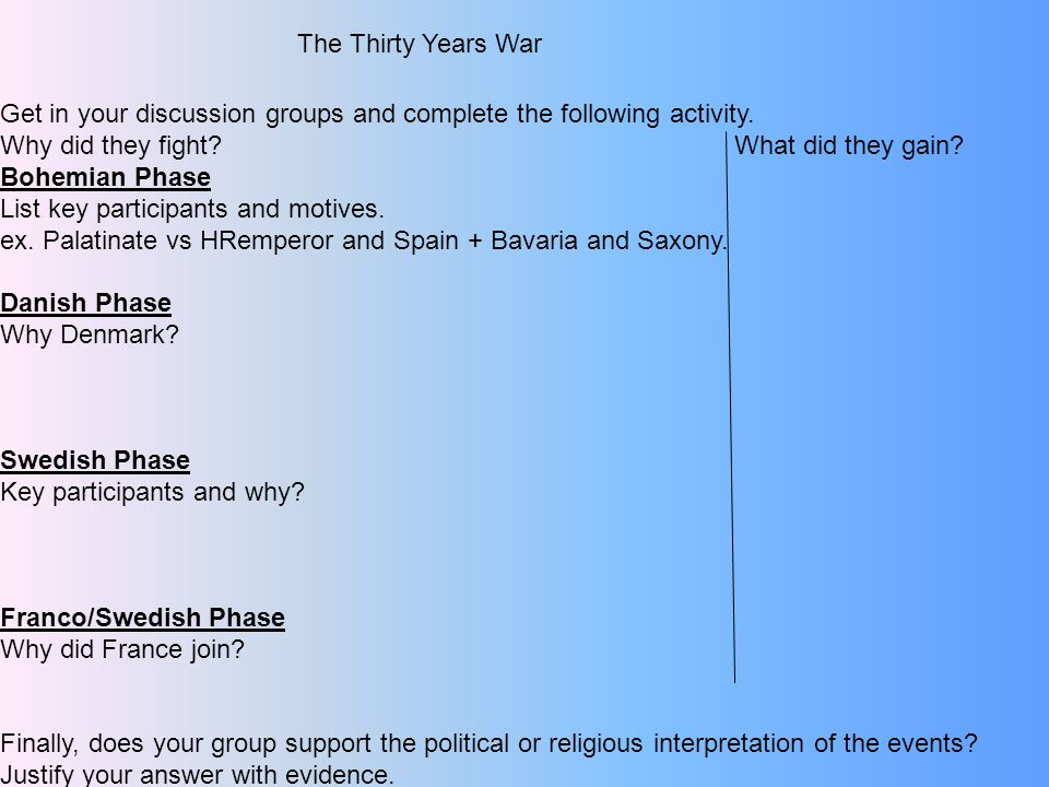 The Thirty Years War Get in your discussion groups and complete the following activity.