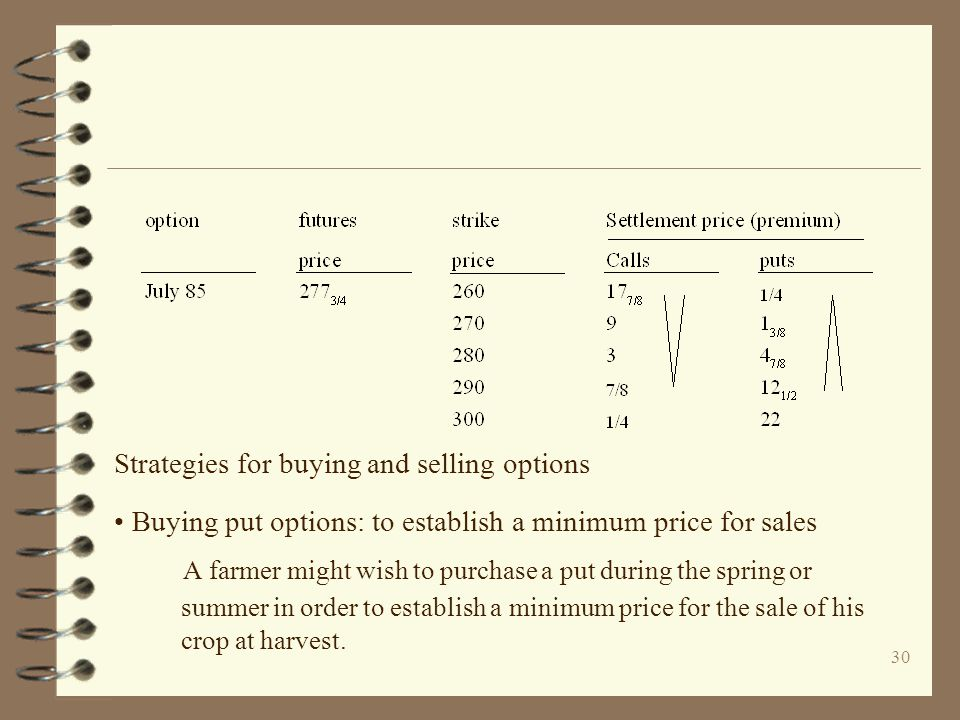 30 Strategies for buying and selling options Buying put options: to establish a minimum price for sales A farmer might wish to purchase a put during t