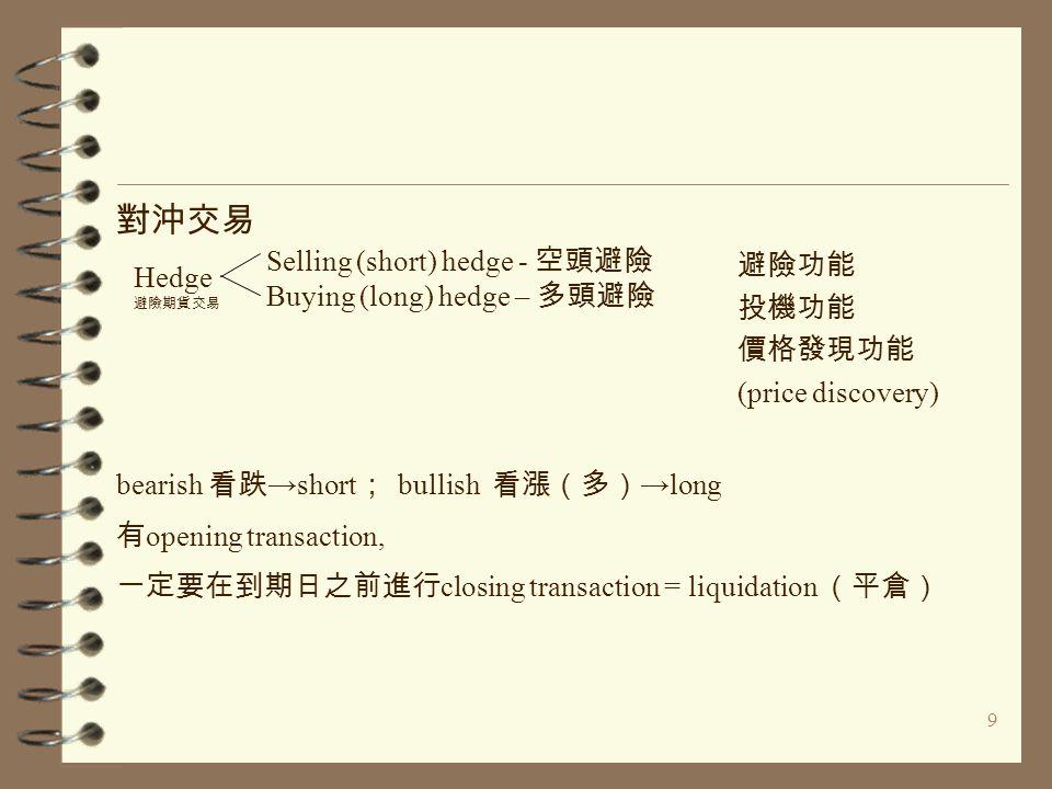 9 對沖交易 避險功能 投機功能 價格發現功能 (price discovery) bearish 看跌 →short ; bullish 看漲(多) →long 有 opening transaction, 一定要在到期日之前進行 closing transaction = liquidation (平倉) Hedge 避險期貨交易 Selling (short) hedge - 空頭避險 Buying (long) hedge – 多頭避險