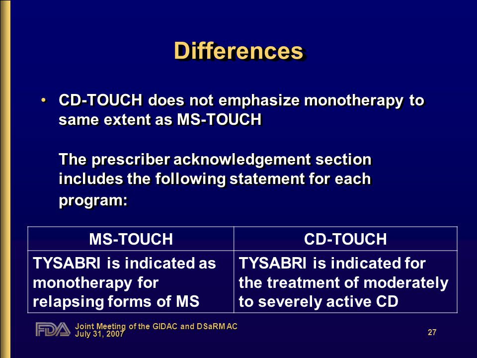 Joint Meeting of the GIDAC and DSaRM AC July 31, 2007 27 DifferencesDifferences CD-TOUCH does not emphasize monotherapy to same extent as MS-TOUCH The prescriber acknowledgement section includes the following statement for each program: CD-TOUCH does not emphasize monotherapy to same extent as MS-TOUCH The prescriber acknowledgement section includes the following statement for each program: MS-TOUCHCD-TOUCH TYSABRI is indicated as monotherapy for relapsing forms of MS TYSABRI is indicated for the treatment of moderately to severely active CD